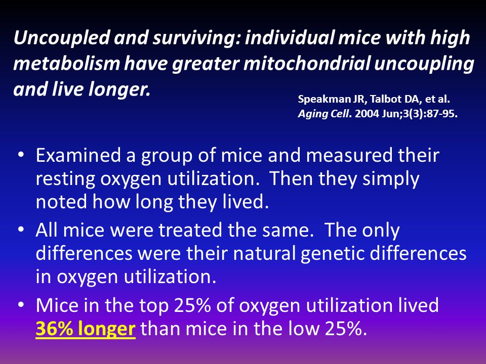 Uncoupled and surviving: individual mice with high metabolism have greater mitochondrial uncoupling and live longer.