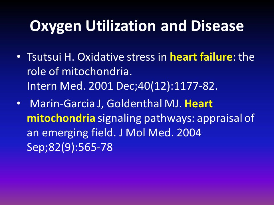 Oxygen Utilization and Disease