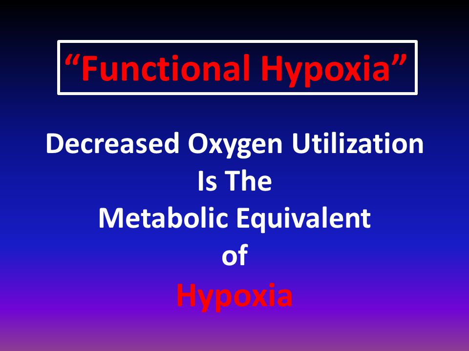 Decreased Oxygen Utilization Is The Metabolic Equivalent of Hypoxia