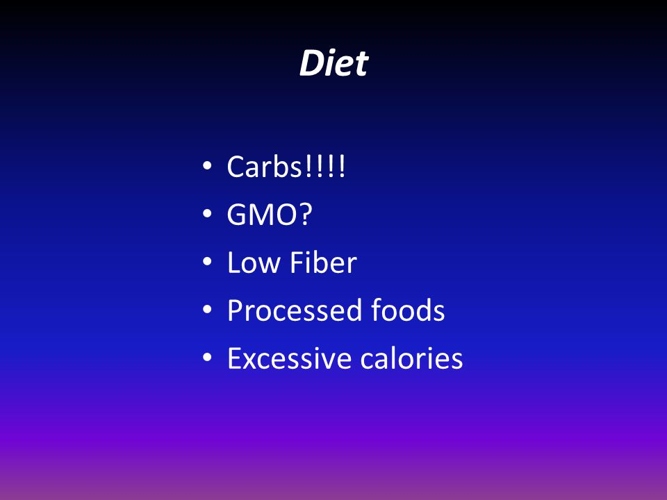 Diet Carbs!!!! GMO Low Fiber Processed foods Excessive calories
