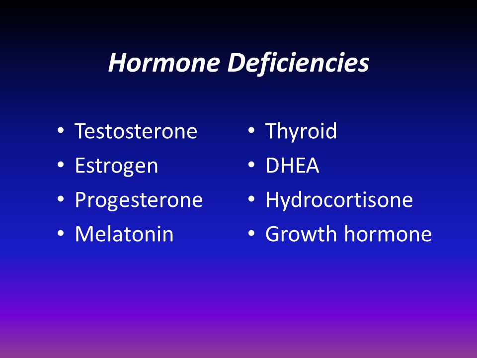 Hormone Deficiencies Testosterone Estrogen Progesterone Melatonin