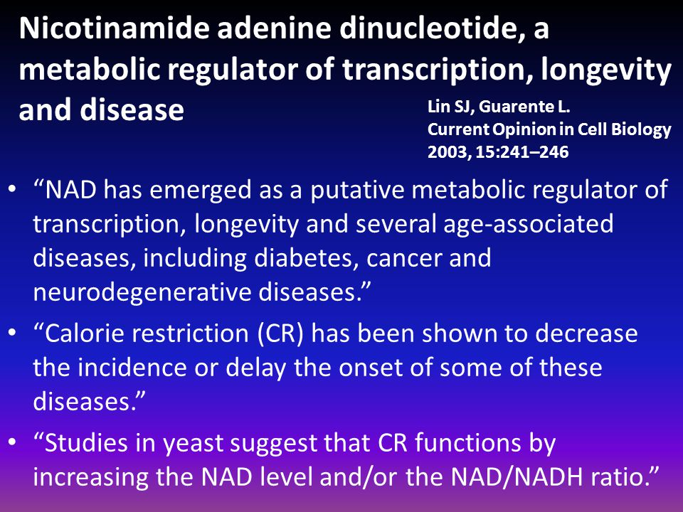 Nicotinamide adenine dinucleotide, a metabolic regulator of transcription, longevity and disease