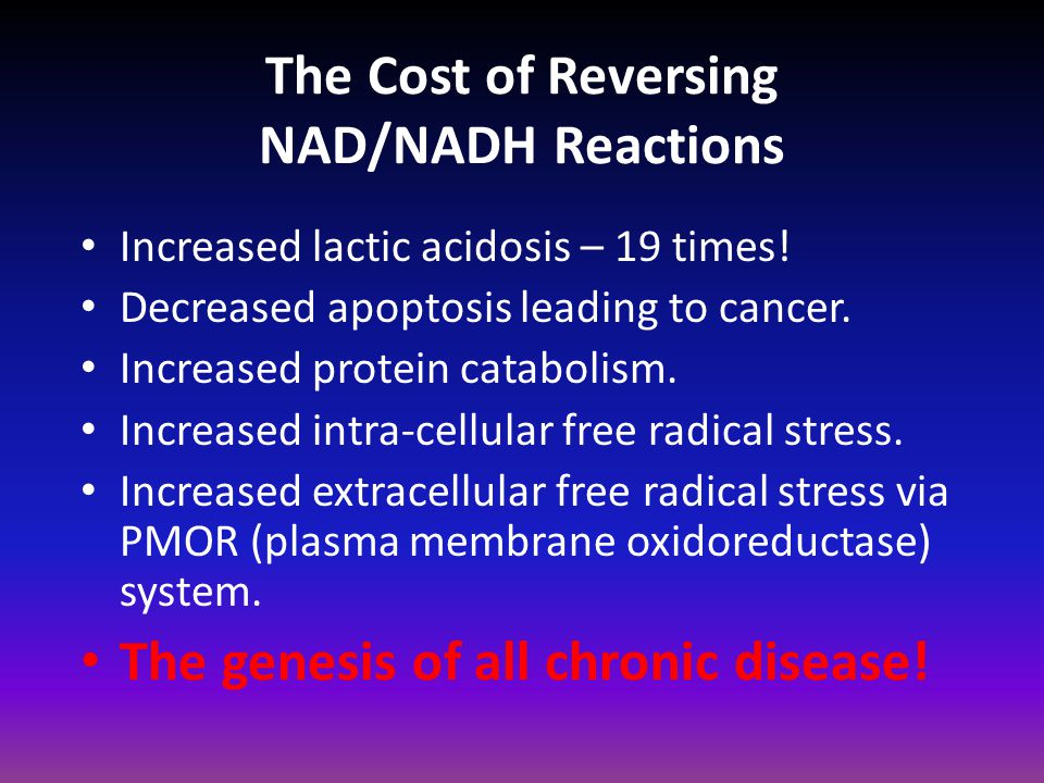 The Cost of Reversing NAD/NADH Reactions