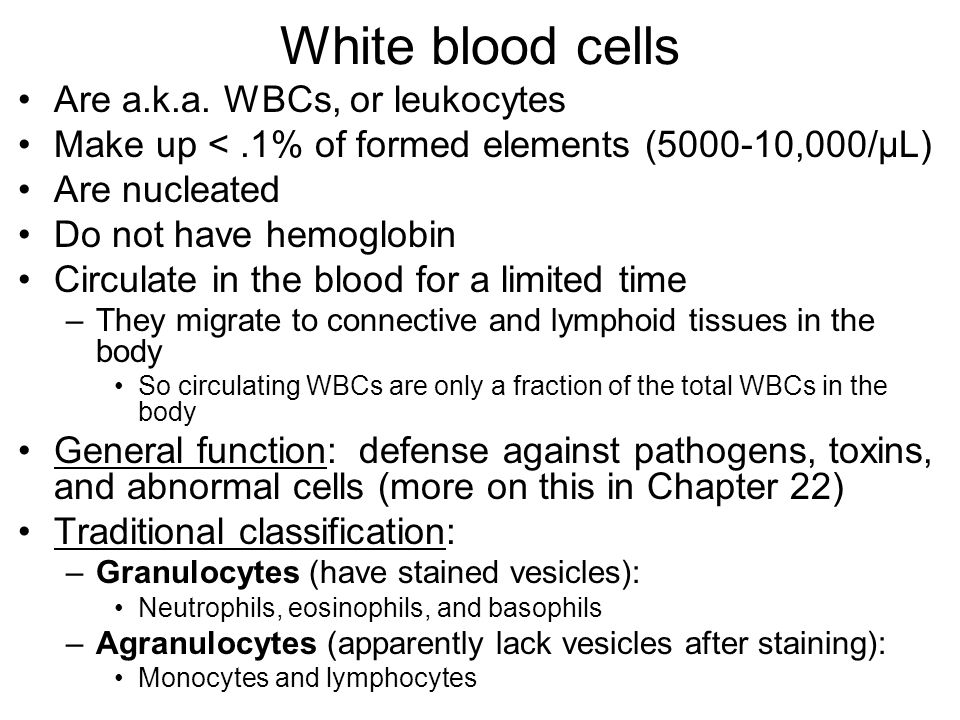 White blood cells Are a.k.a. WBCs, or leukocytes