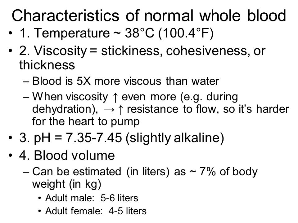 Characteristics of normal whole blood