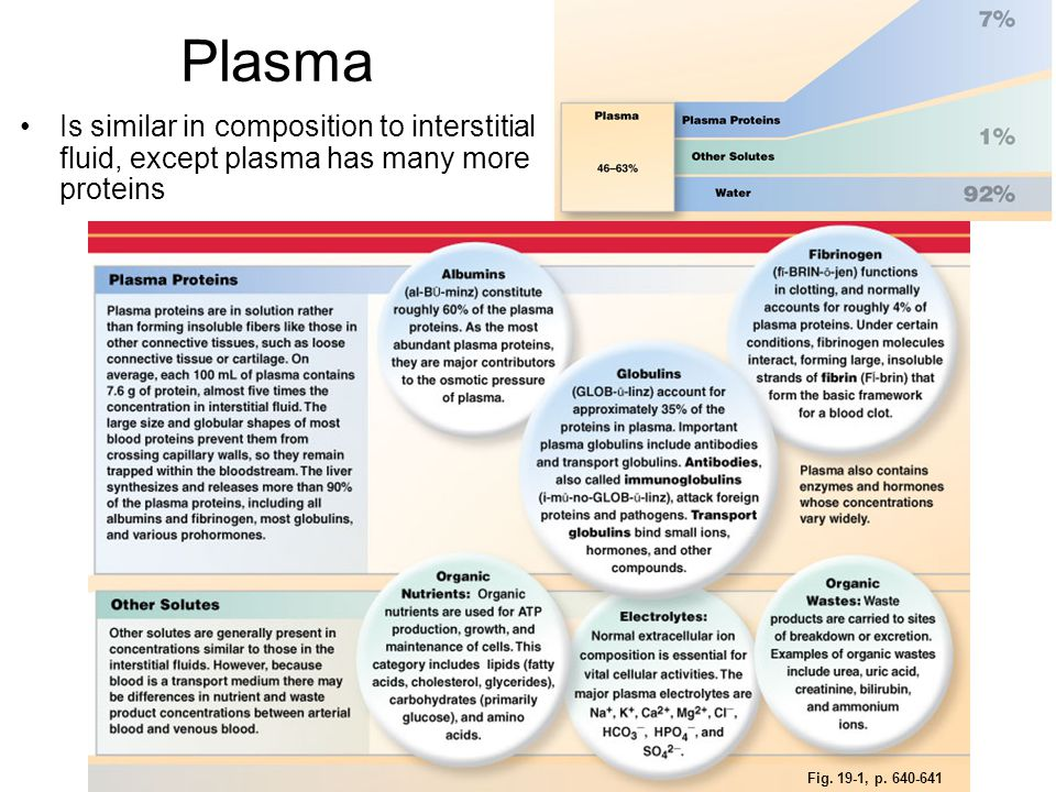 Plasma Is similar in composition to interstitial fluid, except plasma has many more proteins.