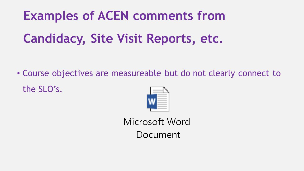 Examples of ACEN comments from Candidacy, Site Visit Reports, etc.