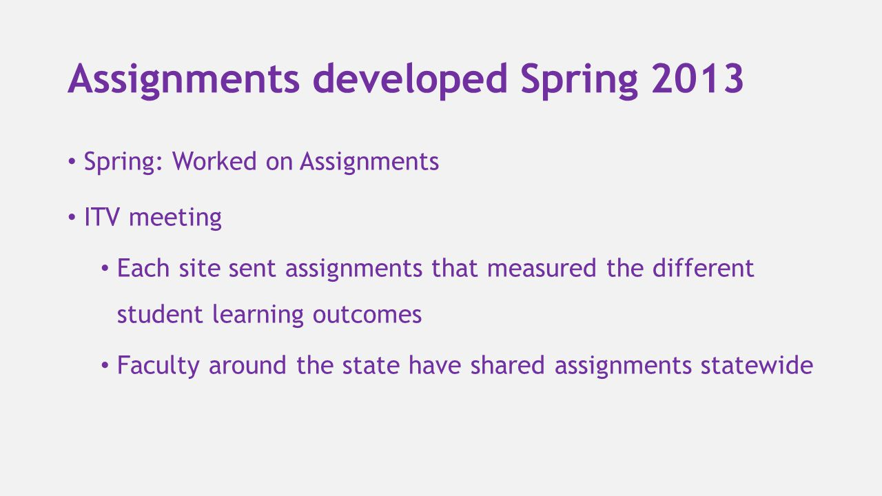 Assignments developed Spring 2013