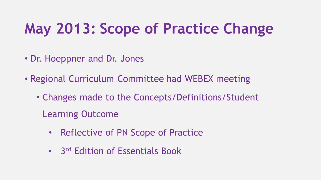 May 2013: Scope of Practice Change