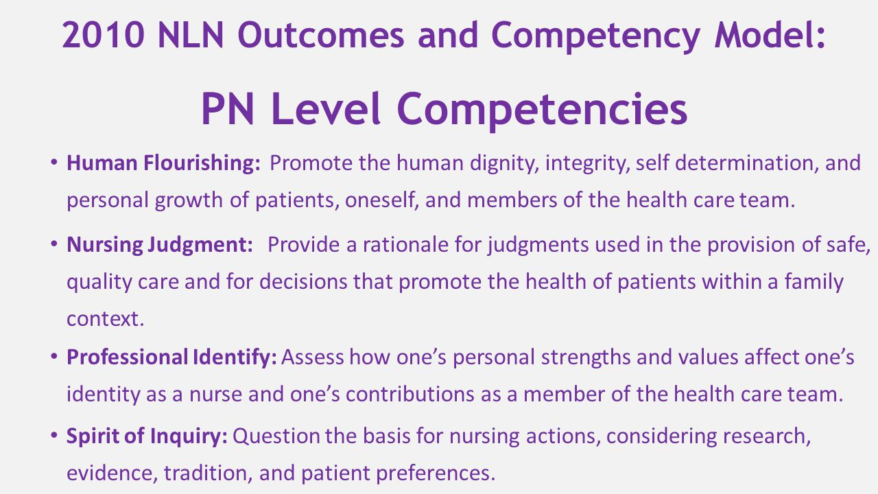 2010 NLN Outcomes and Competency Model: PN Level Competencies