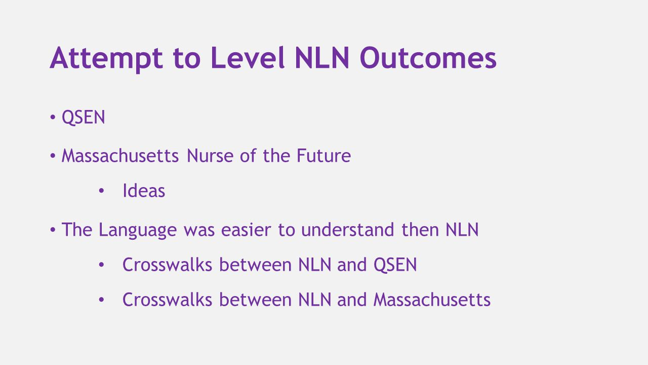 Attempt to Level NLN Outcomes