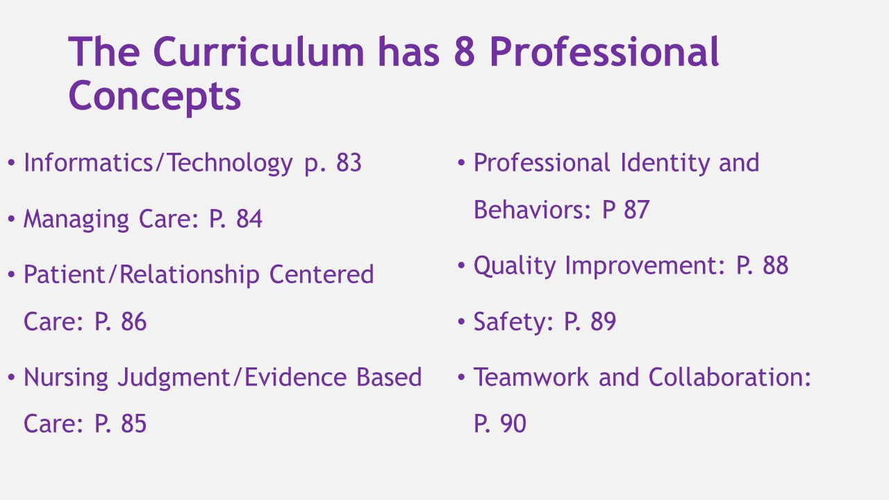 The Curriculum has 8 Professional Concepts