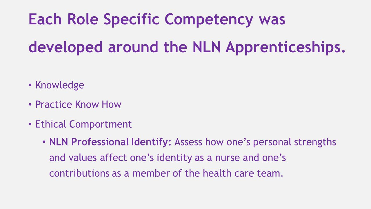 Each Role Specific Competency was developed around the NLN Apprenticeships.