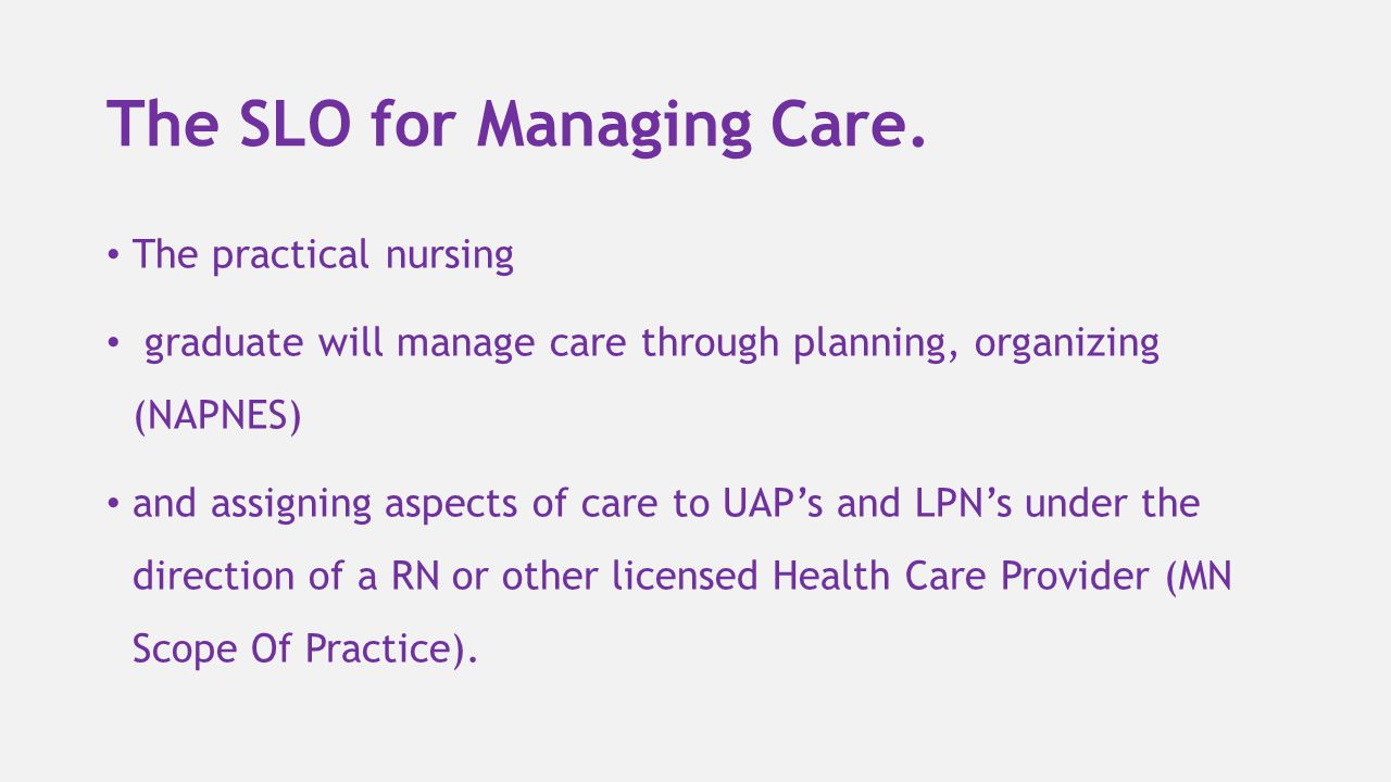 The SLO for Managing Care.