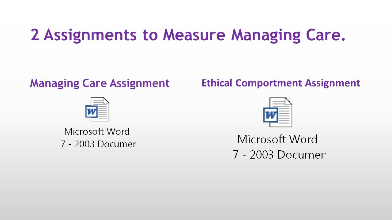 2 Assignments to Measure Managing Care.