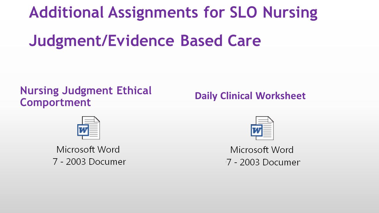 Additional Assignments for SLO Nursing Judgment/Evidence Based Care