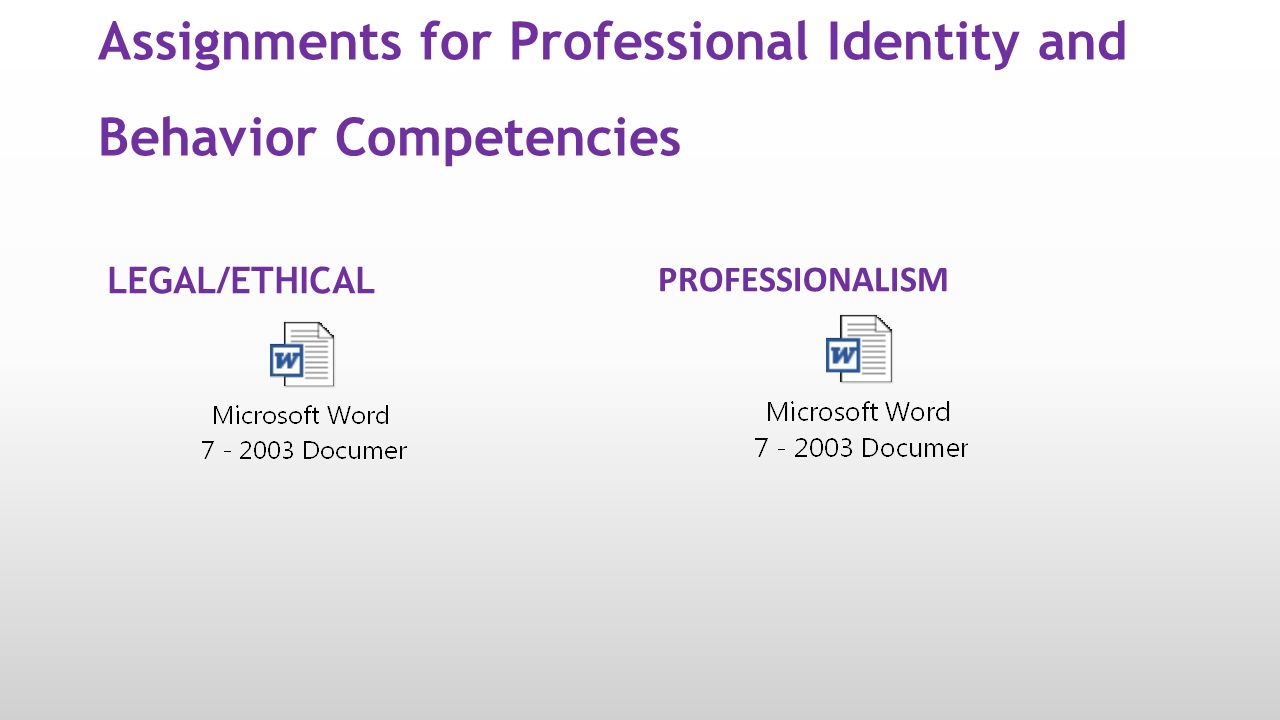 Assignments for Professional Identity and Behavior Competencies