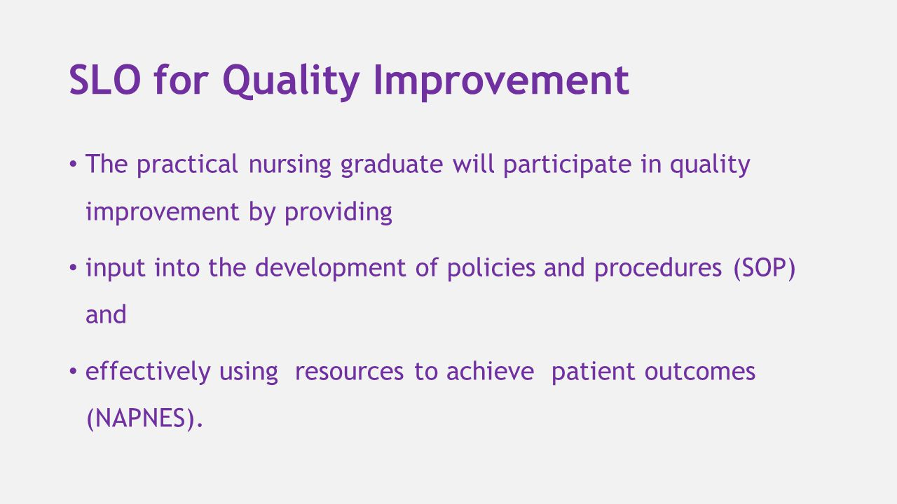 SLO for Quality Improvement