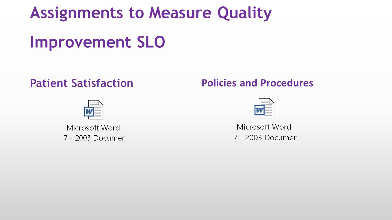 Assignments to Measure Quality Improvement SLO