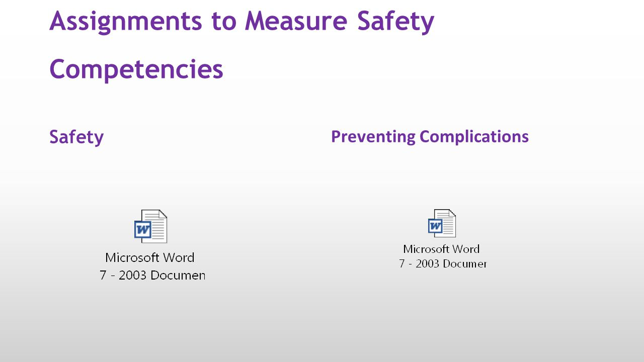 Assignments to Measure Safety Competencies