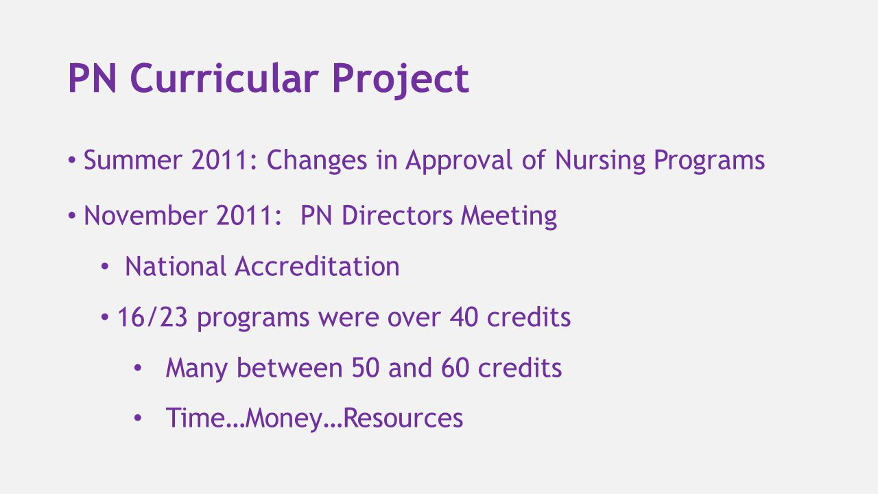 PN Curricular Project Summer 2011: Changes in Approval of Nursing Programs. November 2011: PN Directors Meeting.