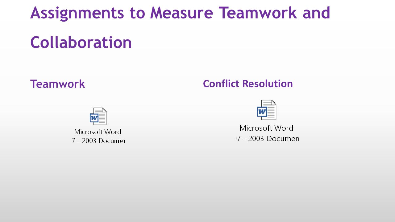 Assignments to Measure Teamwork and Collaboration