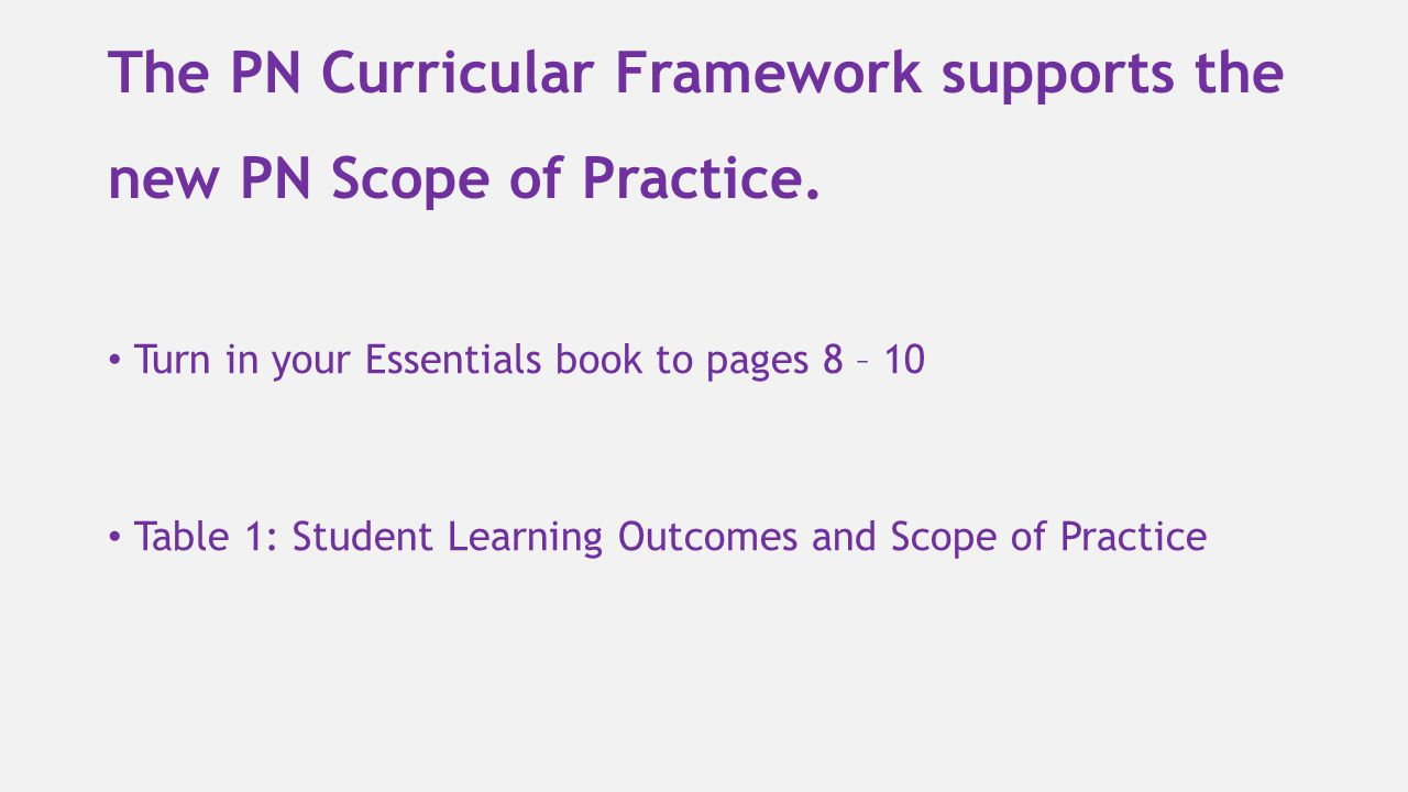 The PN Curricular Framework supports the new PN Scope of Practice.