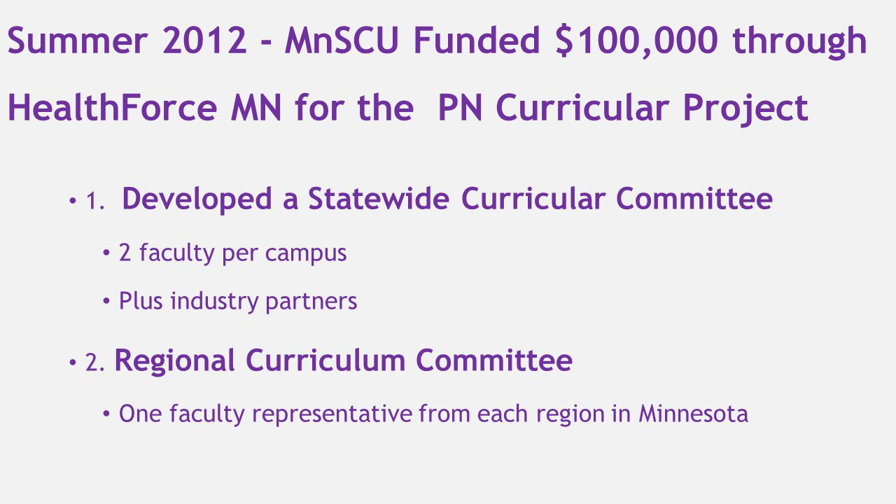 Summer 2012 - MnSCU Funded $100,000 through HealthForce MN for the PN Curricular Project
