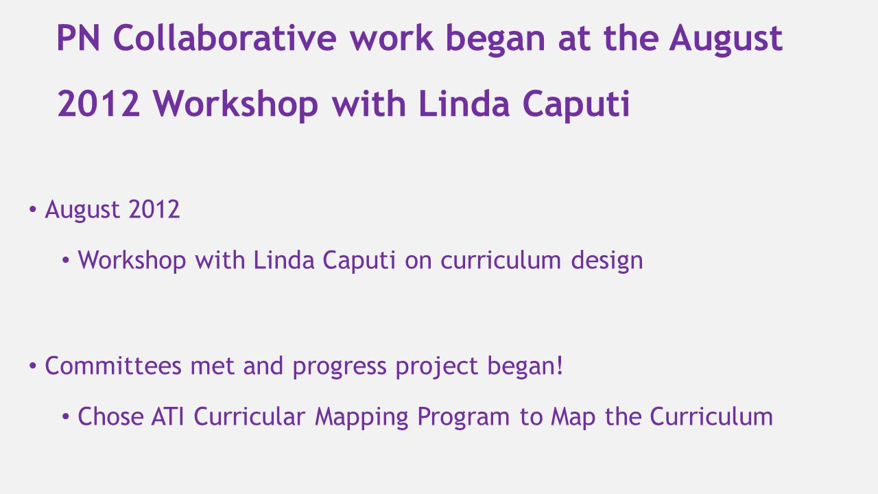 PN Collaborative work began at the August 2012 Workshop with Linda Caputi