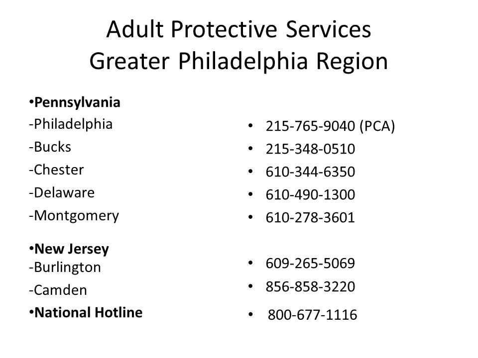 Adult Protective Services Greater Philadelphia Region