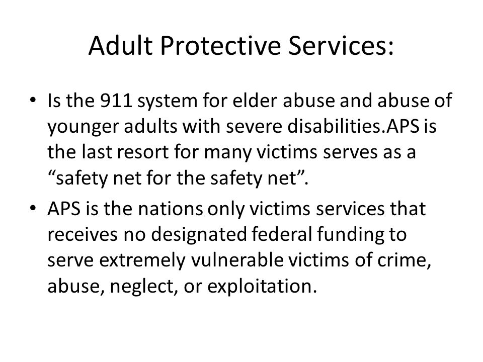 Adult Protective Services: