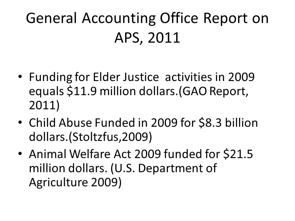 General Accounting Office Report on APS, 2011