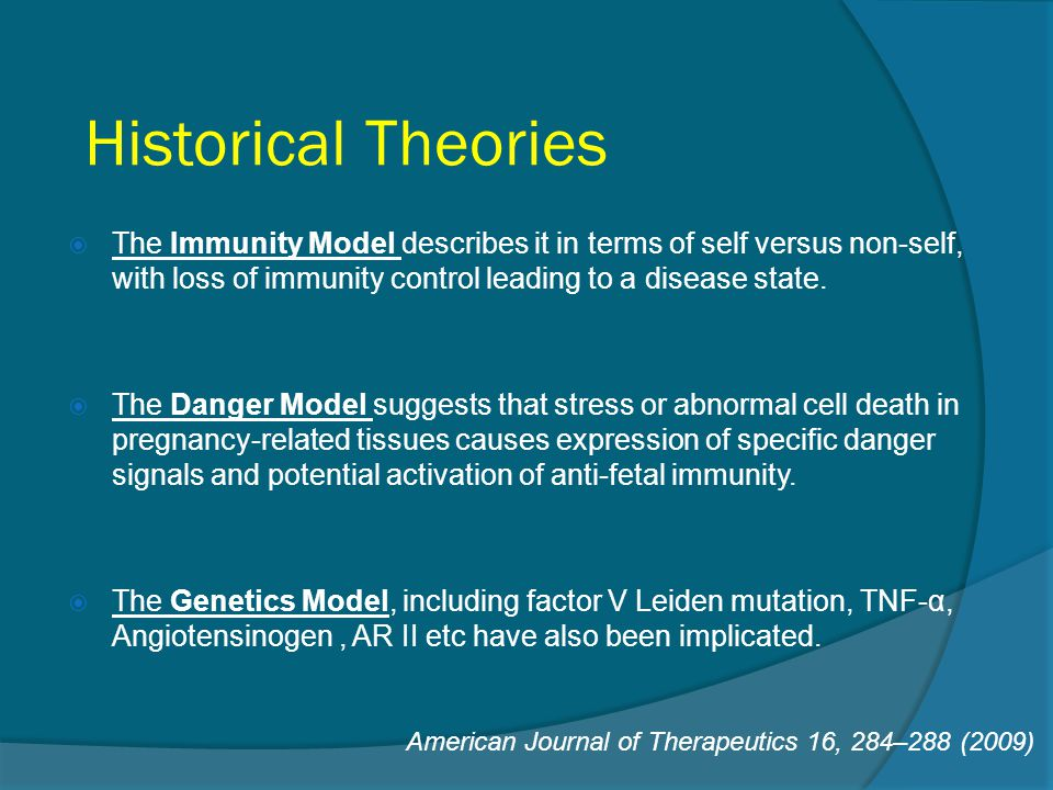 Historical Theories The Immunity Model describes it in terms of self versus non-self, with loss of immunity control leading to a disease state.