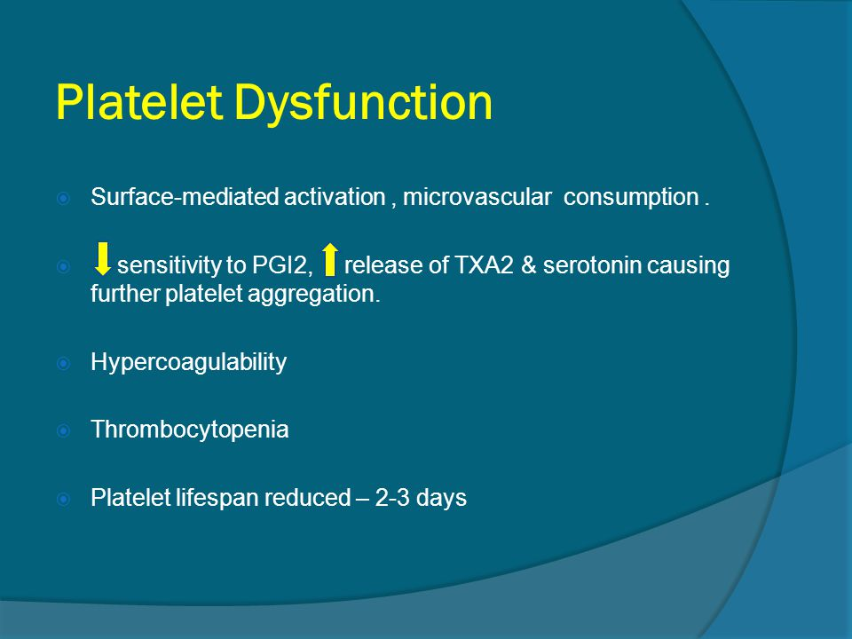 Platelet Dysfunction Surface-mediated activation , microvascular consumption .