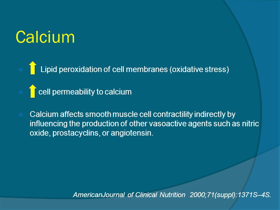 Calcium Lipid peroxidation of cell membranes (oxidative stress)