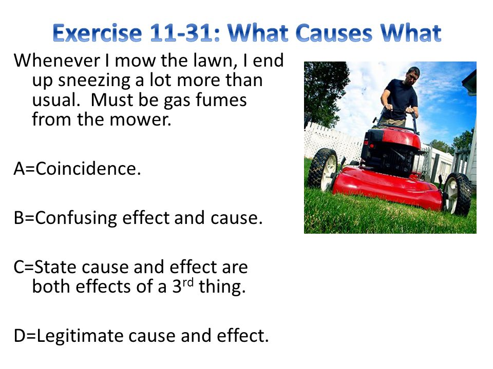 Exercise 11-31: What Causes What