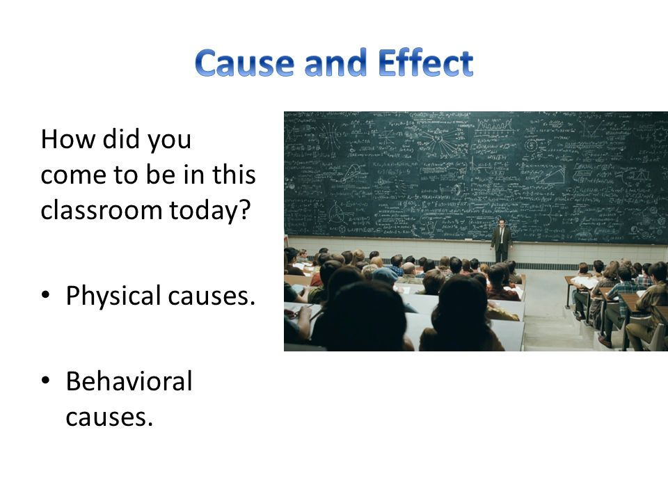Cause and Effect How did you come to be in this classroom today