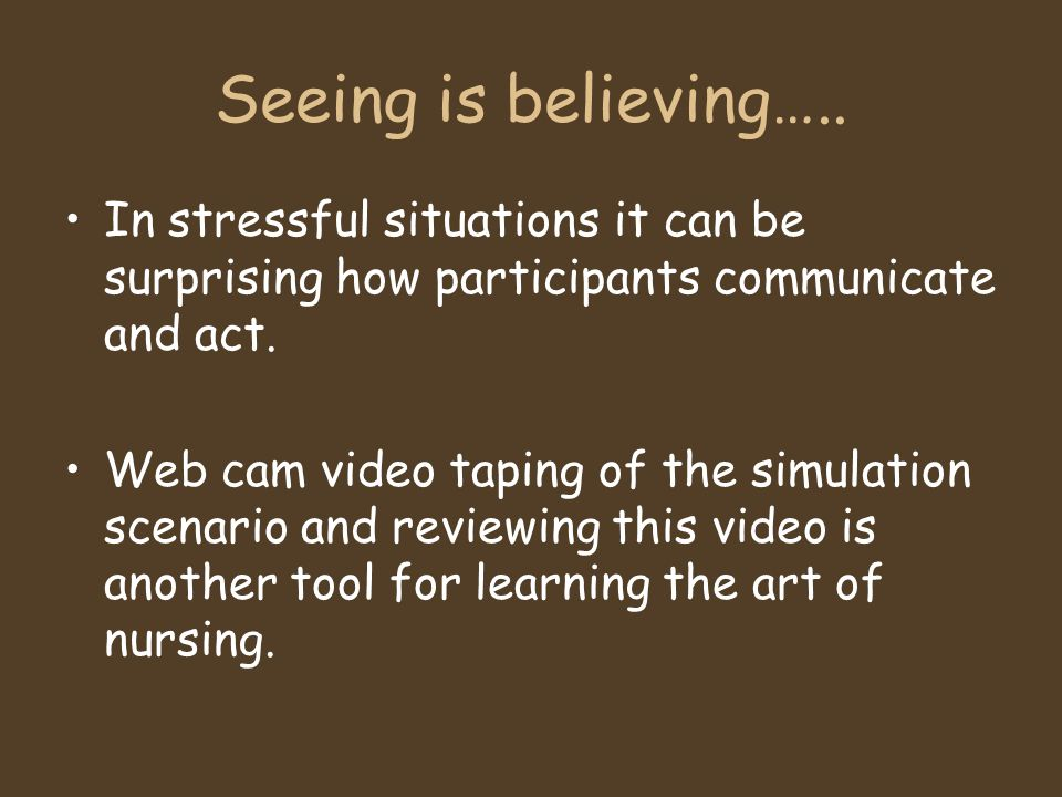 Seeing is believing….. In stressful situations it can be surprising how participants communicate and act.