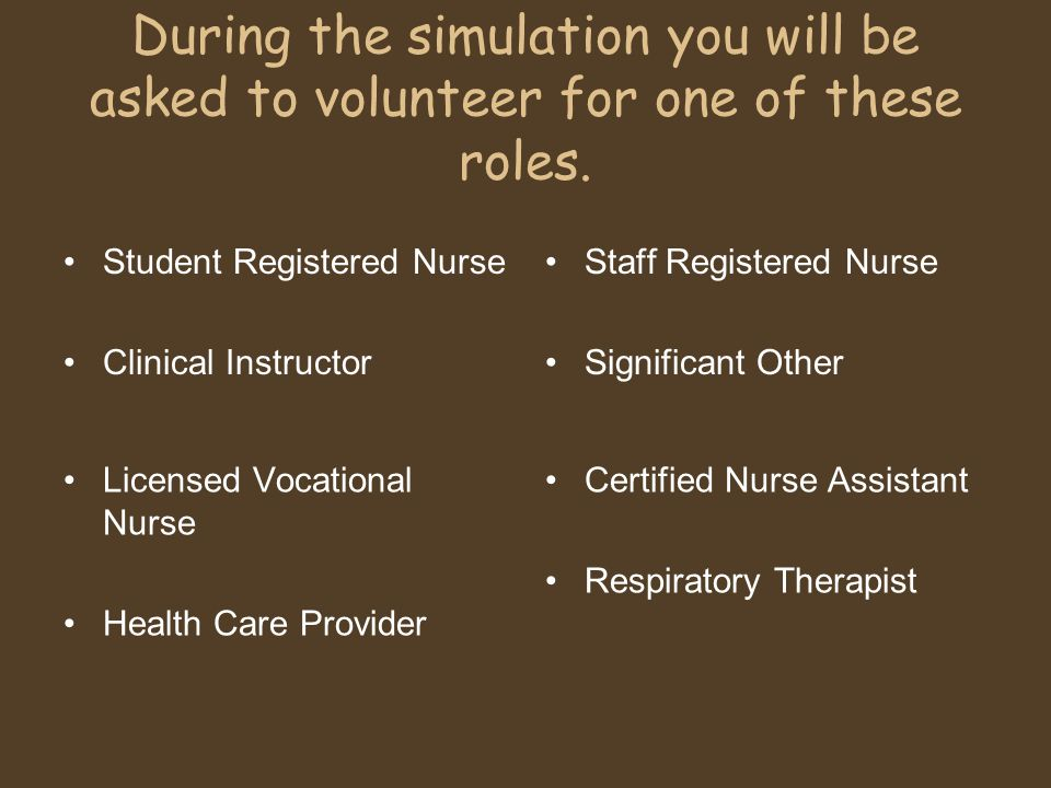 During the simulation you will be asked to volunteer for one of these roles.