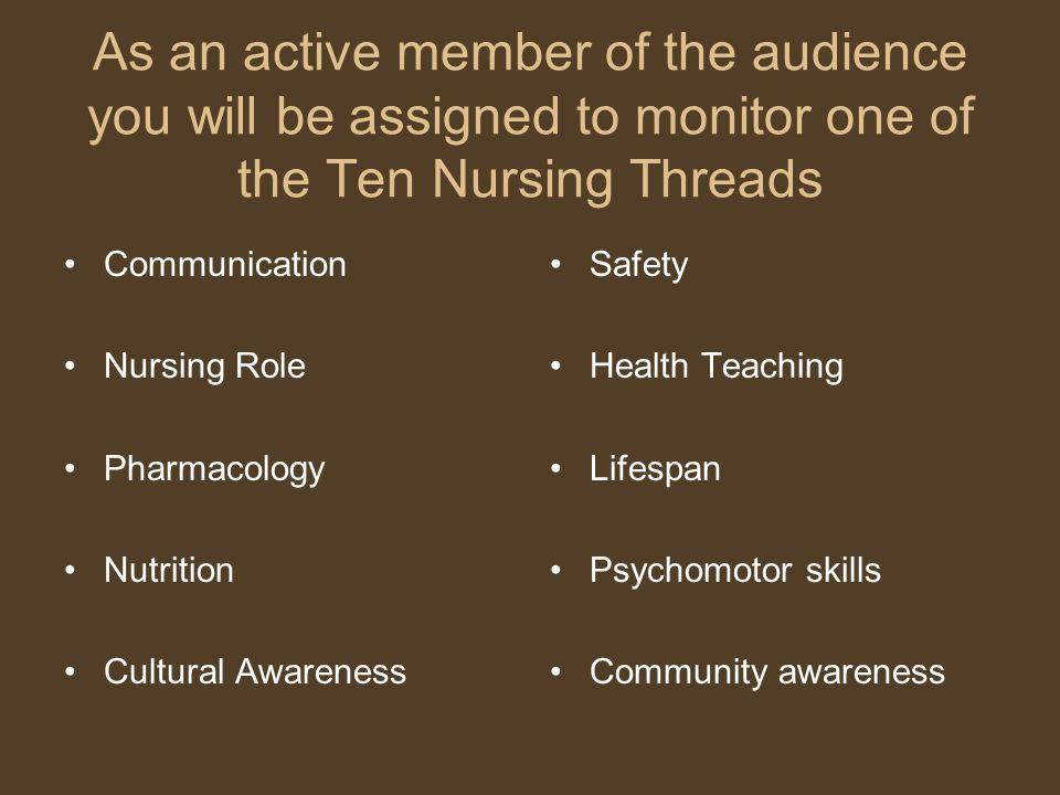 As an active member of the audience you will be assigned to monitor one of the Ten Nursing Threads