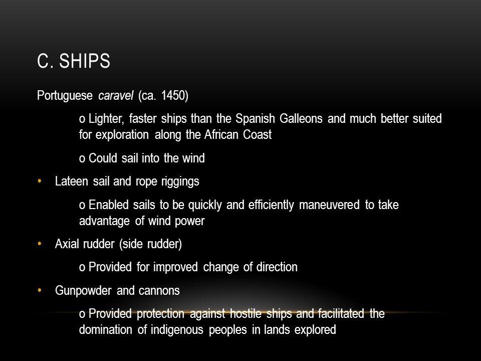 c. Ships Portuguese caravel (ca. 1450)