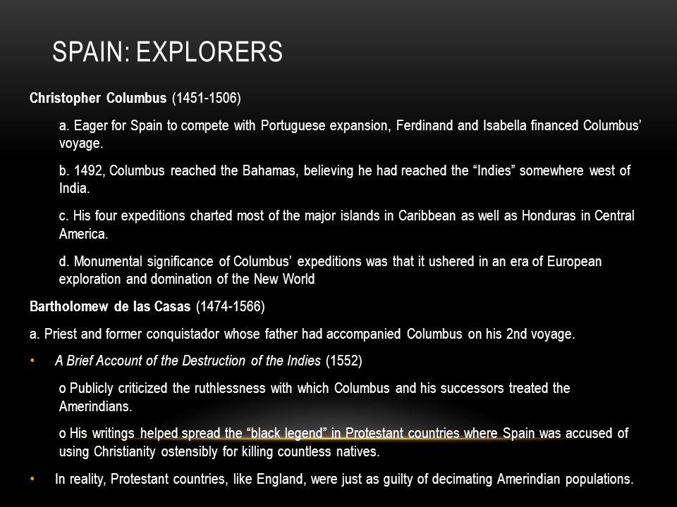 Spain: Explorers Christopher Columbus (1451-1506)