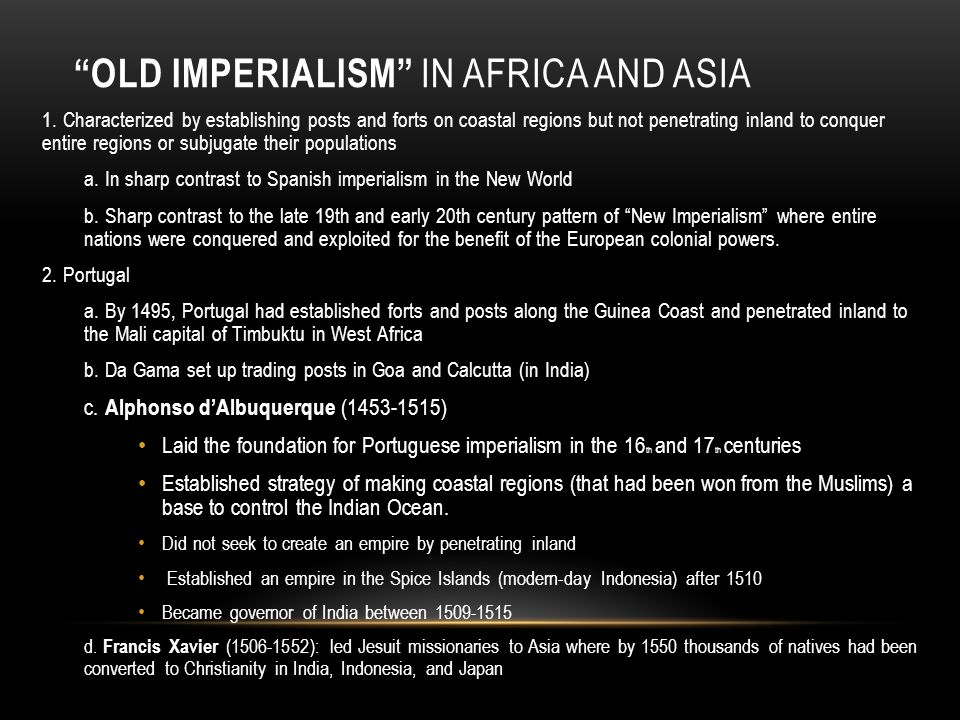 Old Imperialism in Africa and Asia