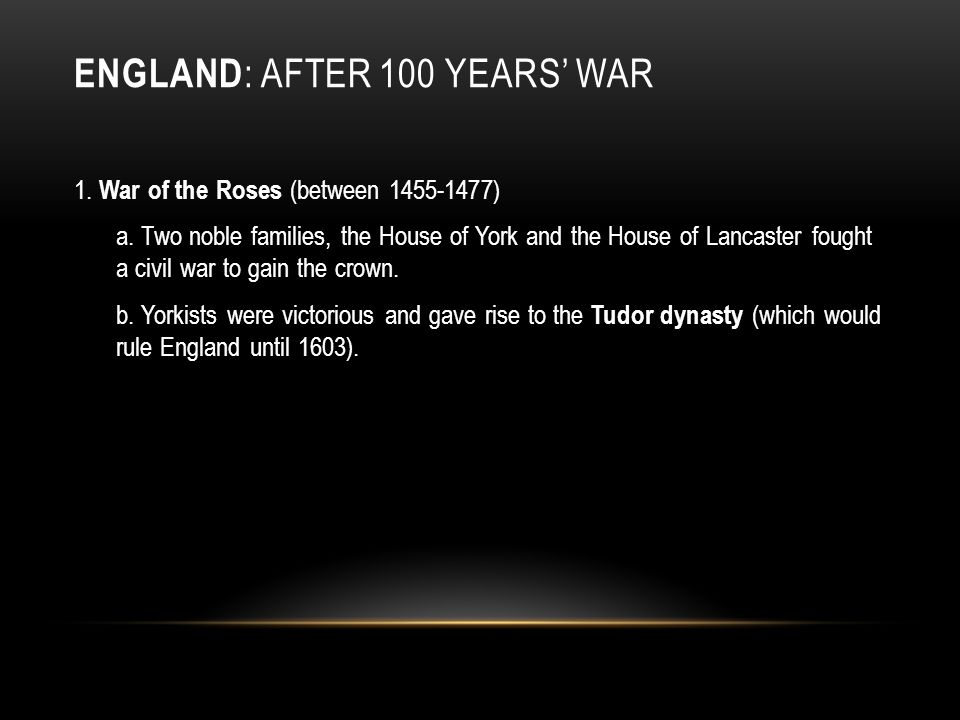 England: after 100 Years' War