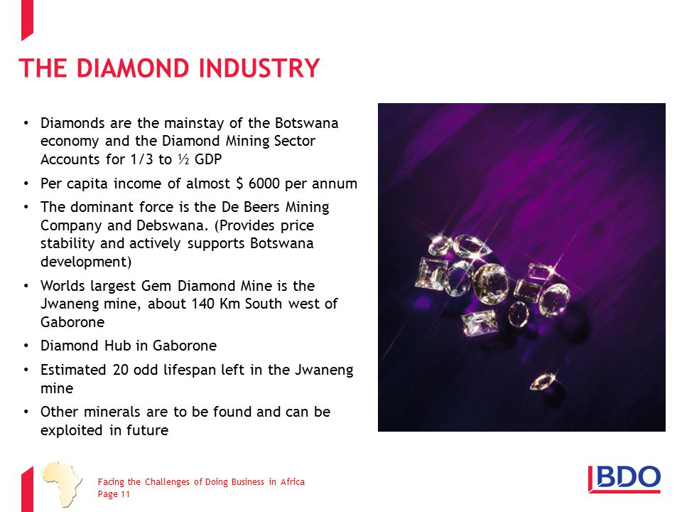 The Diamond Industry Diamonds are the mainstay of the Botswana economy and the Diamond Mining Sector Accounts for 1/3 to ½ GDP.
