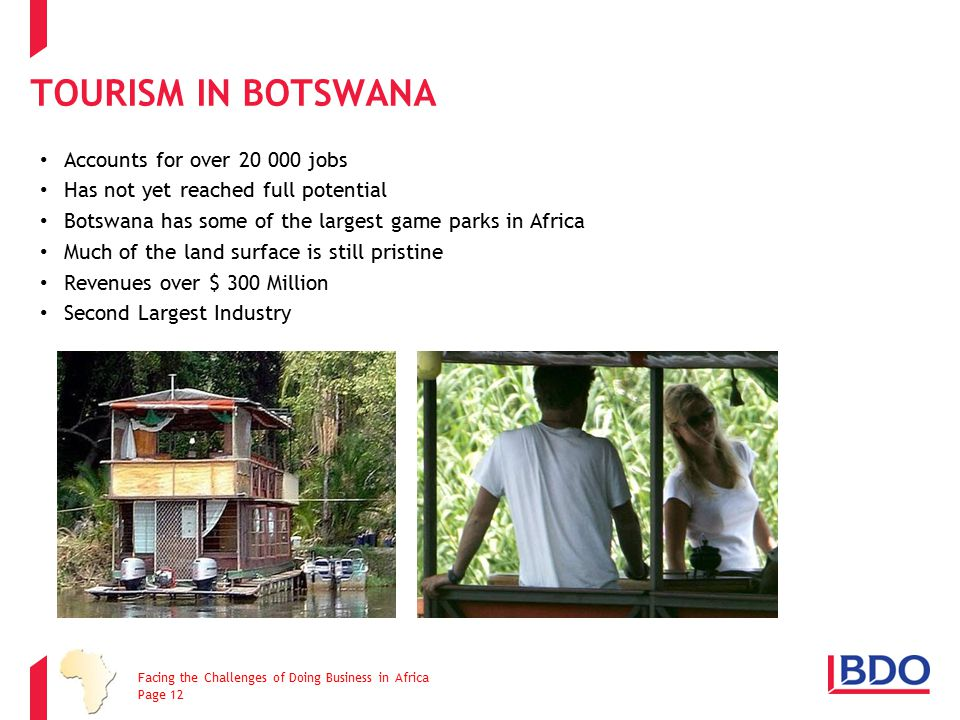 TOURISM IN BOTSWANA Accounts for over 20 000 jobs