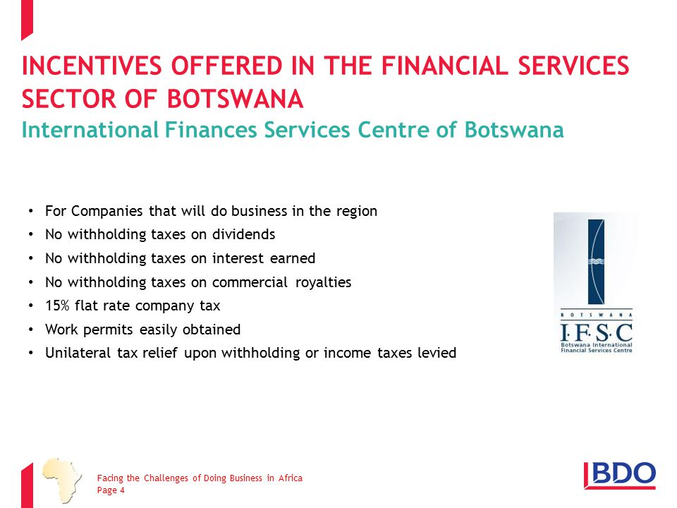Incentives offered in the Financial Services Sector of Botswana International Finances Services Centre of Botswana