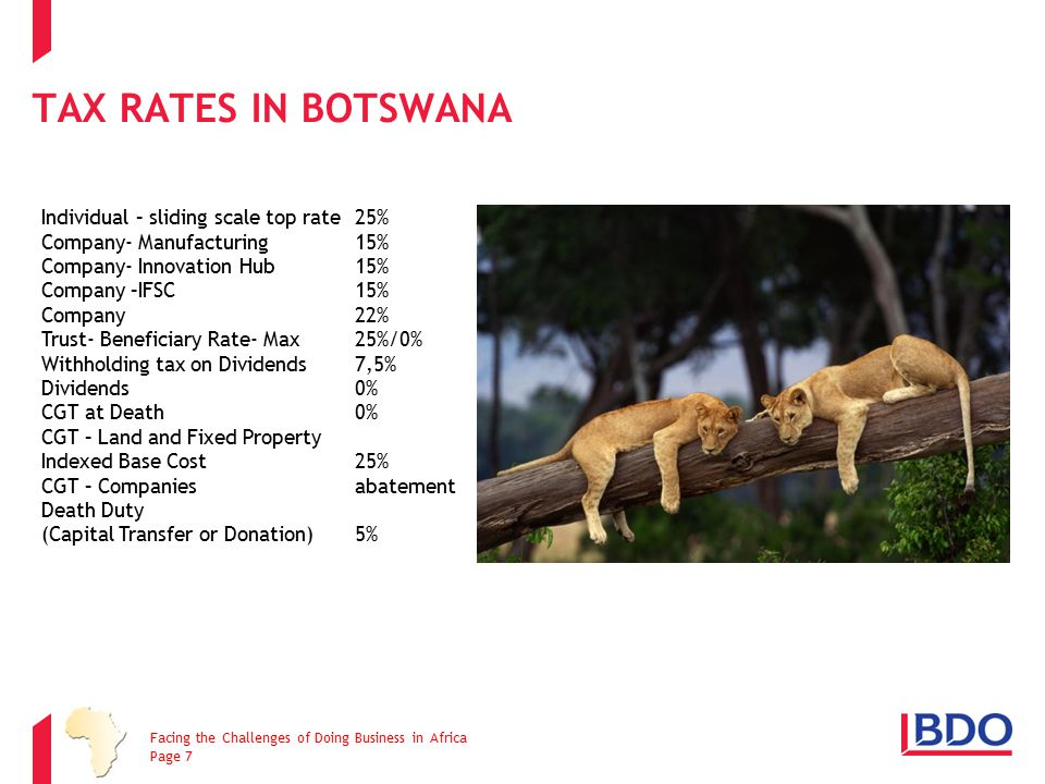 Tax Rates in Botswana Individual – sliding scale top rate 25%