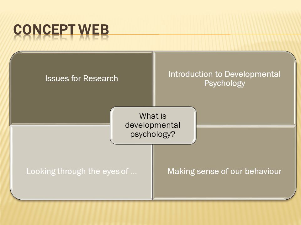 Concept Web What is developmental psychology Issues for Research