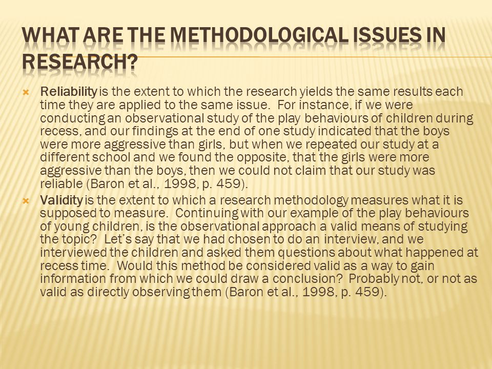 What are the methodological issues in research